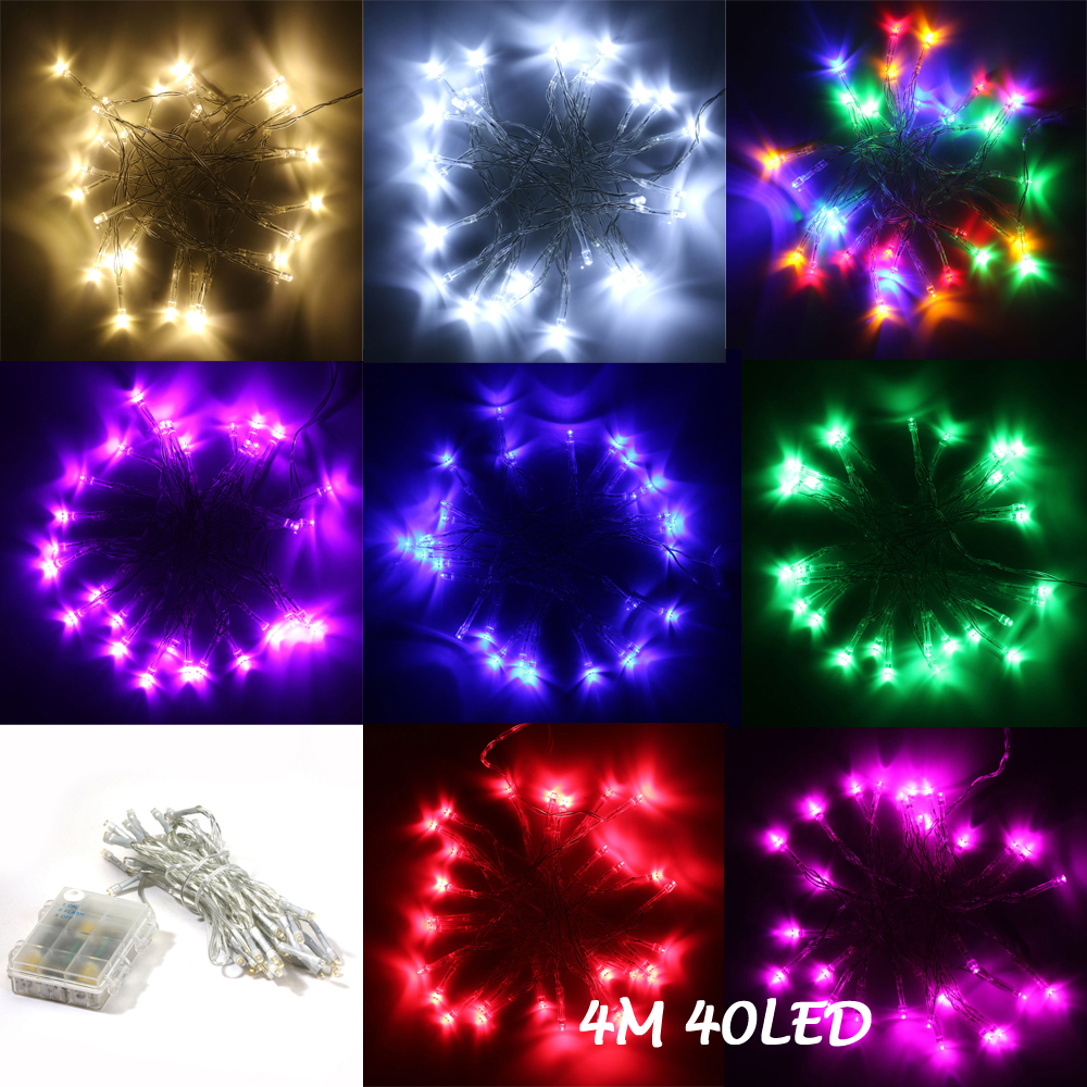 Waterproof 4M 40LED 3AA Battery Operated LED String Lights, Fairy Party Wedding Christmas Fairy Lights with Flash