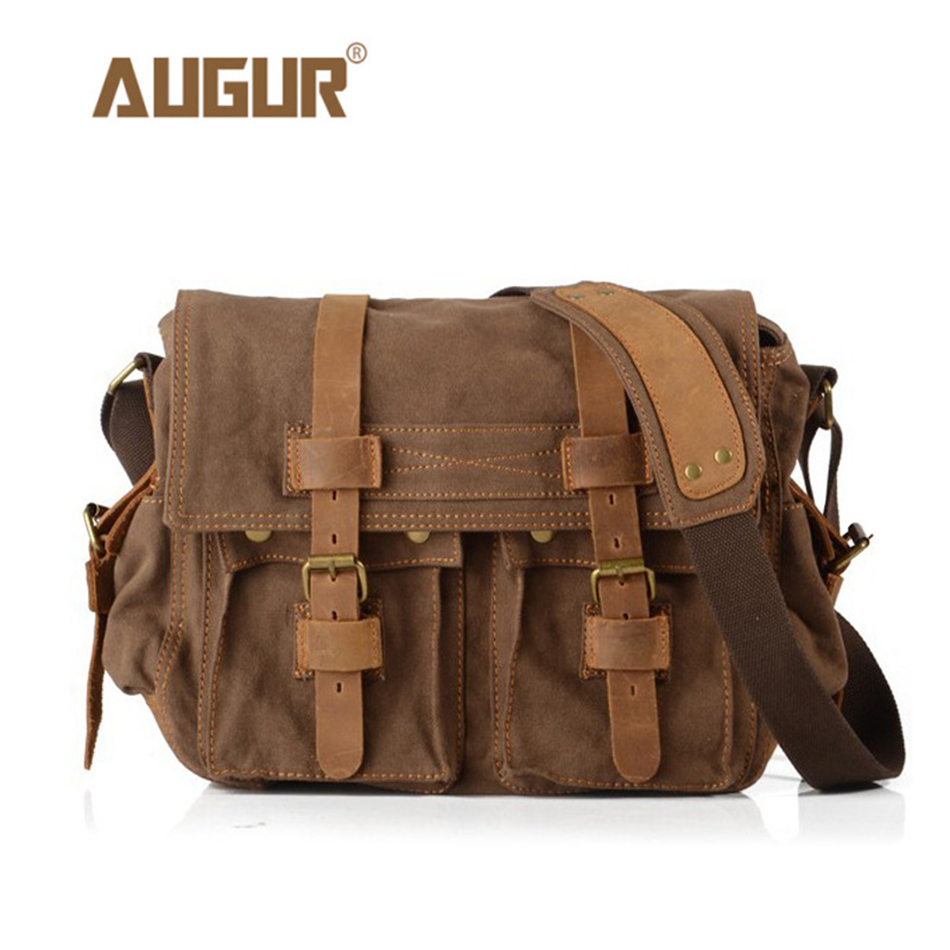 AUGUR Men's Canvas Crossbody Bag Military Shoulder Bags Vintage Messenger Bag Fashion Scholl Bag Tote Briefcase augur canvas leather men messenger bags military vintage tote briefcase satchel crossbody bags women school travel shoulder bags