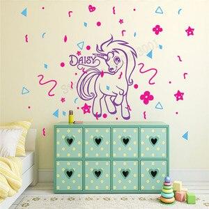 Wall Art naklejki niestandardowe dzieci pokój dekoracji spersonalizowane nazwa plakat jednorożec uroczy fototapeta piękne dziecko sypialnia naklejka LY443