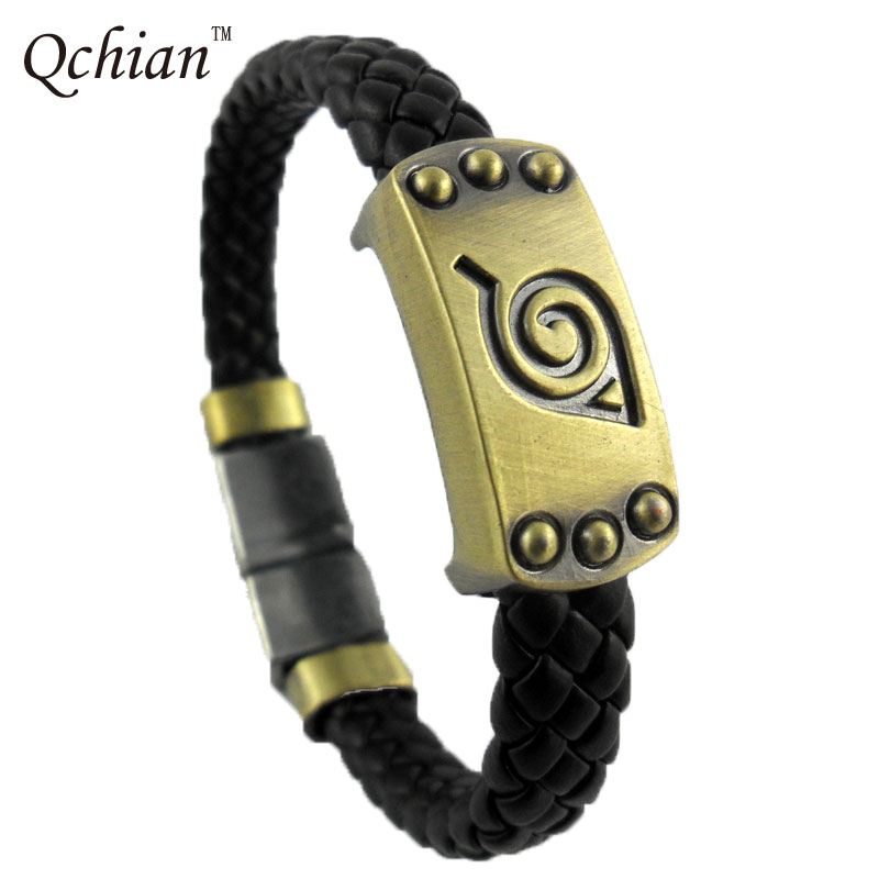2017 New Arrival Anime Cosplay Leaf Naruto Bracelet Animation Alloy Leather Bracelets Vintage Women Men Jewelry 21cm Hot Sale