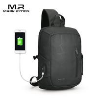 MarkRyden2018 New USB Charging Sling Bag Large Capacity Oxford Crossbody Bag For Men Shoulder Bag Water