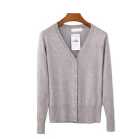 Autumn And Winter Female New Cashmere Cardigan V Neck Knit Shirt Slim Korean Version Of The