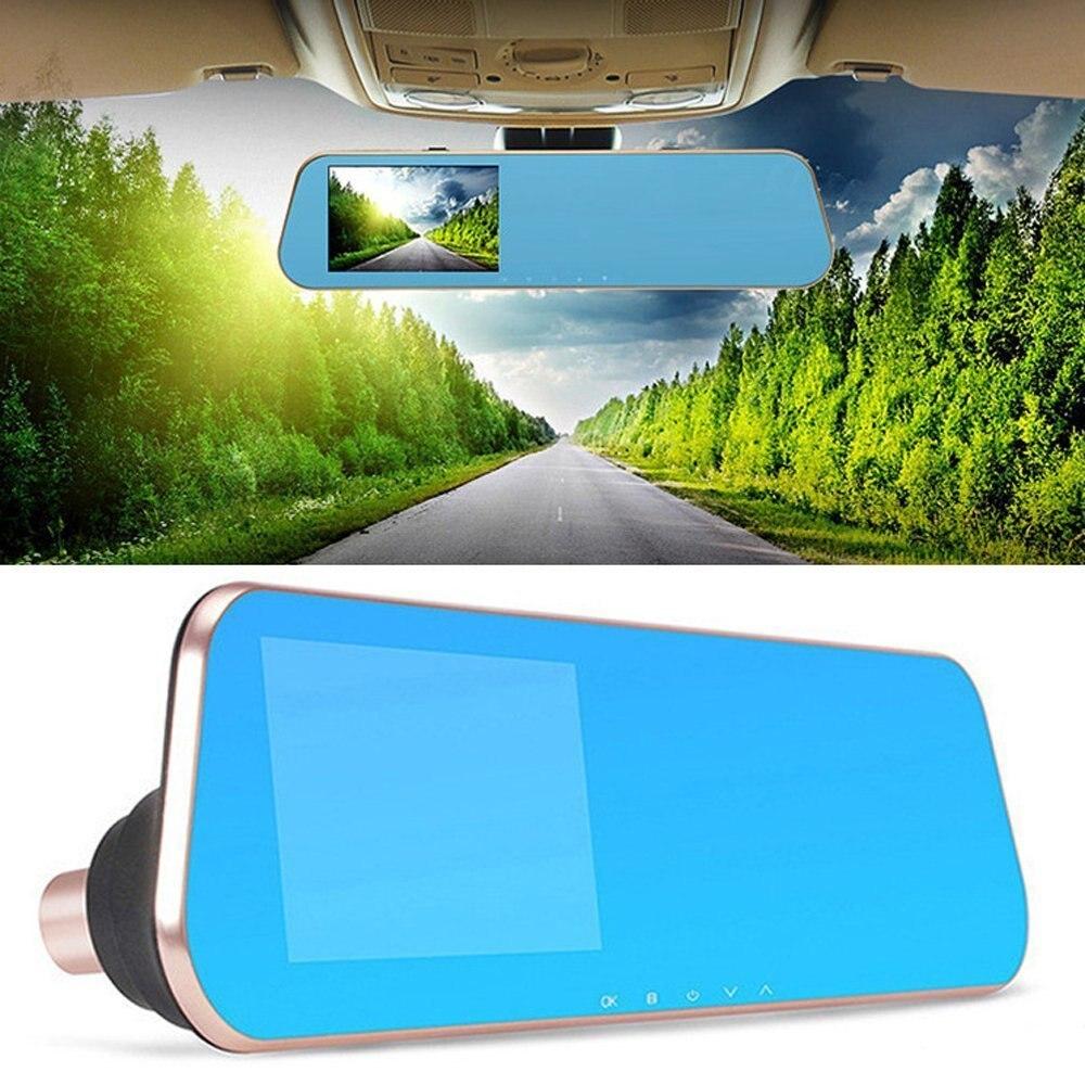 Auto Dual Lens Dash Cam Auto Camcorder FHD registrador 4,3 pulgadas Dash Cam coche Dvr azul revisión espejo grabadora de vídeo Digital