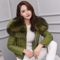 Real Fur Coats For Women Natural Sheepskin Shearling Coat With Raccoon Fur Collar Natural Fur Jackets