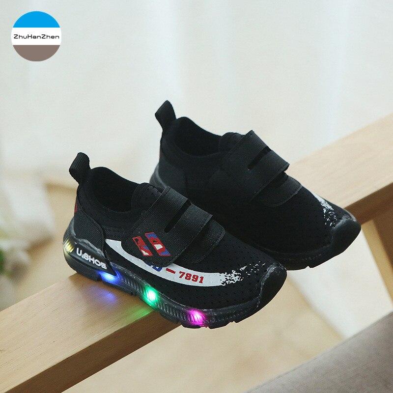 100% Vrai 2018 Automne Nouveau Led Lumières Chaussures De Sport Bébé Garçons Et Filles Mode Chaussures De Course Chaussures De Sport Brillant Nouveau-né Doux Prewalker Une Performance SupéRieure