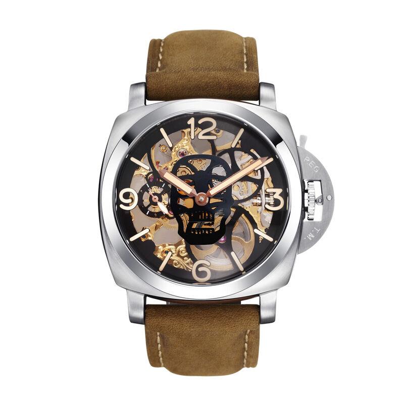 Parnis SKULL Seriers Luminous Mens Leather Watchband  Fashion Mechanical Watch Wristwatch parnis pilot iiv seriers luminous mens silicone leather watchband army sport chronograph quartz watch wristwatch