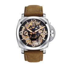 Parnis SKULL Seriers Luminous Mens Leather Watchband  Fashion Mechanical Watch Wristwatch