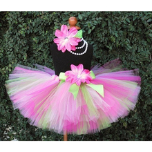 цена на Multicolor Girls Tutu Skirts Baby Fluffy Tulle Tutus Ballet Pettiskirts with Flower Bow and Headband Kids Party Costume Skirts