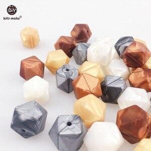 Image 1 - Laten we Siliconen Bijtring Metallic Koper Parel Witte Geometrische/Hexagon Siliconen 50 st DIY Tandjes Ketting Kralen Voor bijtring