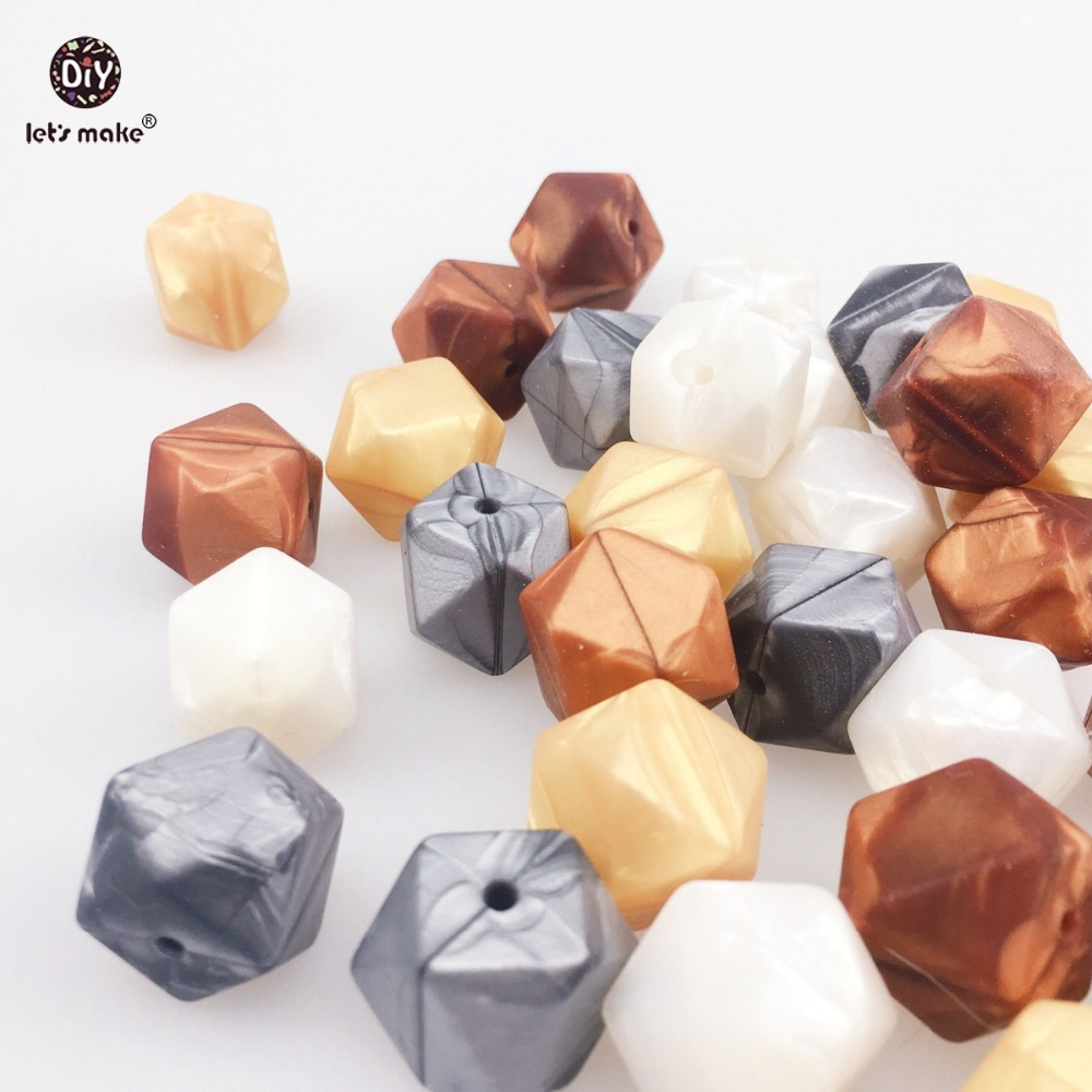 Lets Make Silicone Teether Metallic Copper Pearl White Geometric/Hexagon Silicone 50pc DIY Teething Necklace Beads For Teether