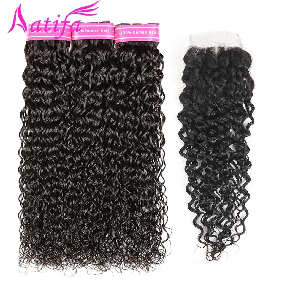 Peruvian Water Wave Bundles With Closure 100 Human Hair 3 Bundles With Closure Remy Hair Weave