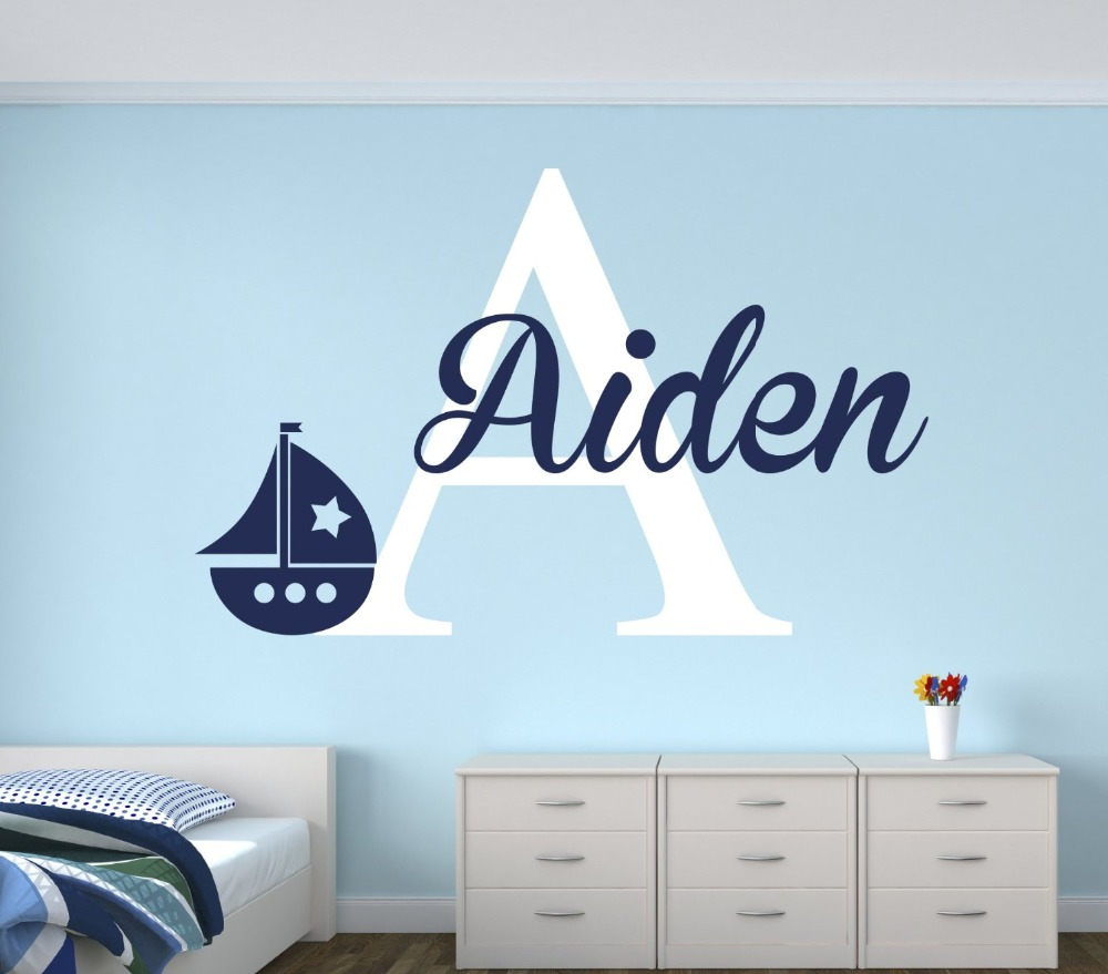 Name Wall Decals For Nursery Tags: Personalized Name Sailboat Wall Decal For Boys Nautical