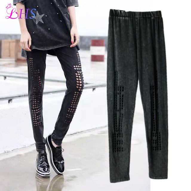 1X Casual Fashion Hole Leggings Summer Style Pants Soft Skin Material Fitness Nine Women Leggins