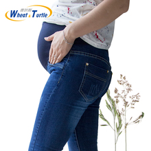 [Wheat Turtle]Brand Maternity Jeans Pregnancy Clothes Denim Overalls Skinny Pants Trousers Clothing For Pregnant Women Plus Size