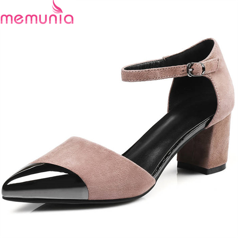 MEMUNIA 2018 new arrival women pumps pointed toe suede leather summer shoes mixed colors fashion party high heels shoes woman replica nonla e27 modern white pendant lights pendant lamp pendant light pendant lighting