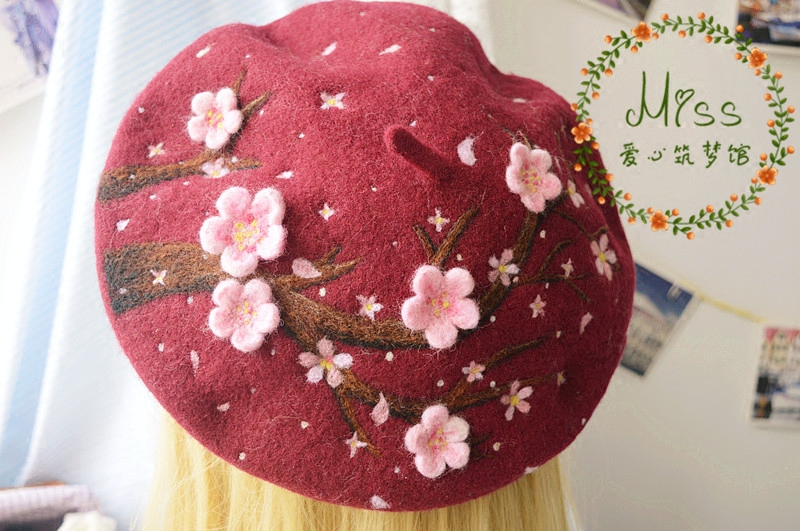 Sweet Lolita Vintage Mori Girl Strawberry Wool Princess Beret Cap Painter Hat