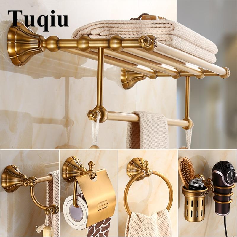 Bathroom Accessories Set Antique Brass Paper Holder Towel Rack Toilet Brush holder Towel Holder bathroom Hardware