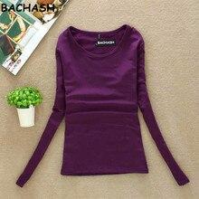 BACHASH высокое качество свитера с круглым вырезом Длинные рукава пуловер Для женщин свитер Базовая рубашка Топ свитер вязаный сплошной черный, белый цвет