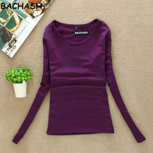 BACHASH 100% High Quality Sweaters O Neck Long Sleeved Pullover Women Sweater Basic Shirt Top Sweater Knitted Solid Black White