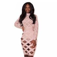 Long Sleeve Mesh Bandage Celebrity Party Dress