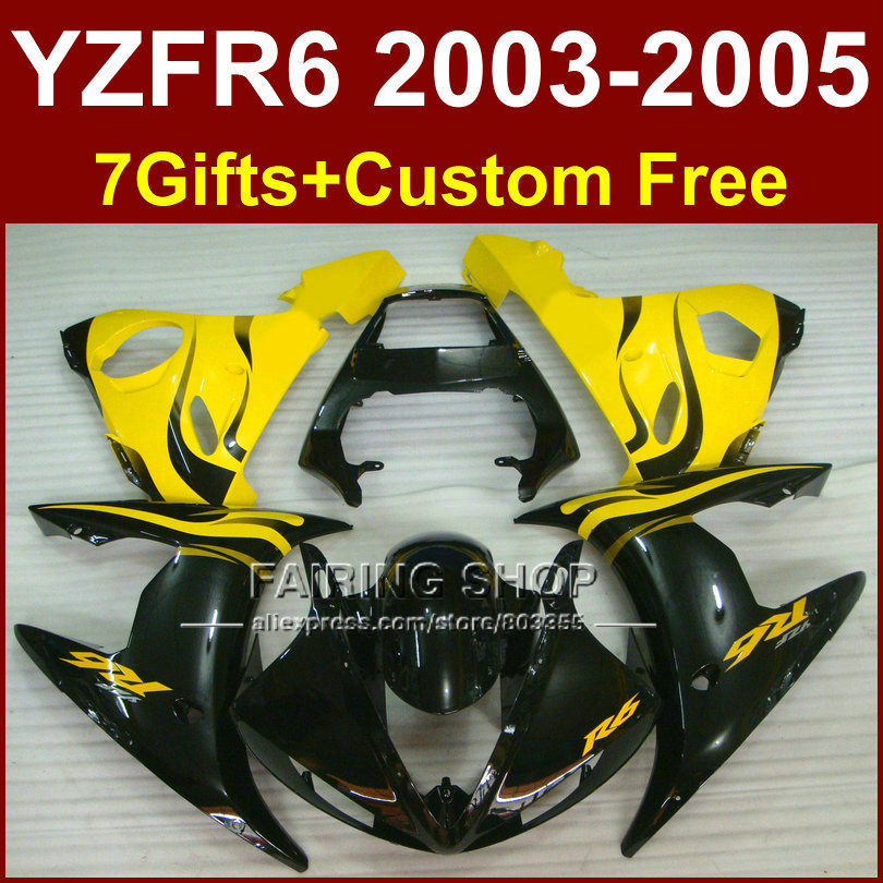 Yellow black body repair parts for YAMAHA R6 fairing kit 03 04 05 YZF R6 2003 2004 2005 Motorcycle fairings sets iWY4 red black moto fairing kit for yamaha yzf600 yzf 600 r6 yzf r6 1998 2002 98 02 fairings custom made motorcycle bodywork c821
