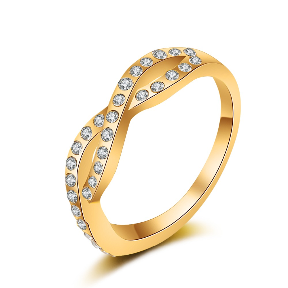 nj36 New Fashion Women Luxury Metal Zircon Simple 8 Word women of Ring Gold gold color Perfect Gift 1PC