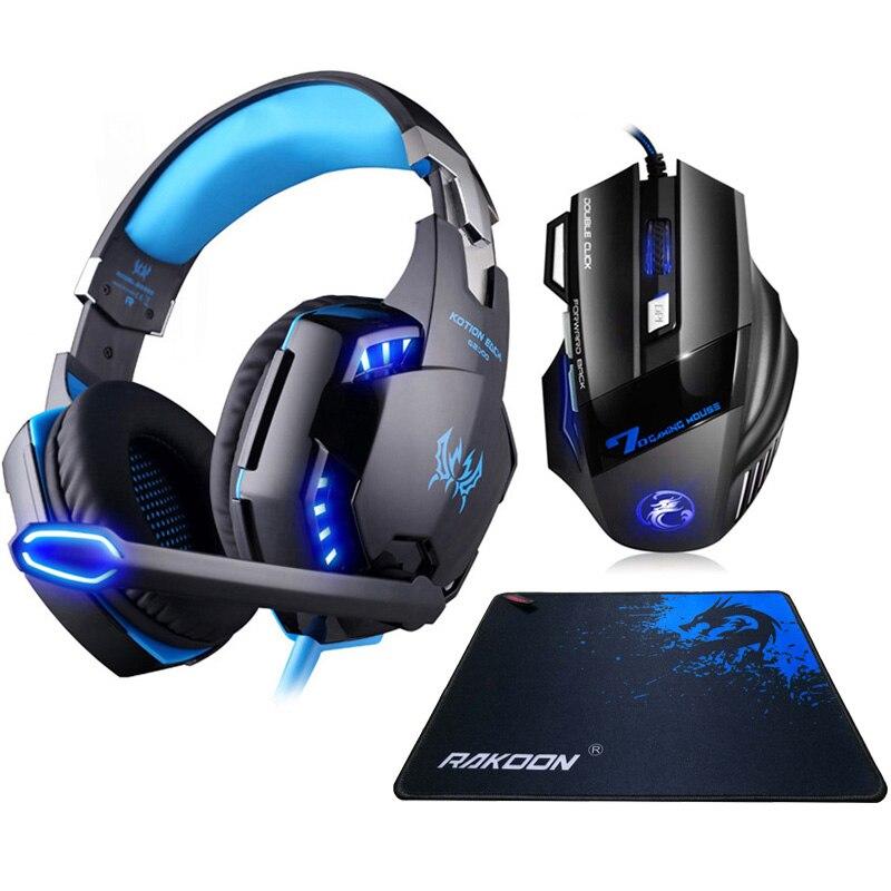 G2000 casque de jeu Stéréo Deep Bass casque avec micro lumière led + Optique 5500 DPI Gaming Mouse + Tapis de Souris pour Gamer