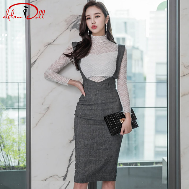2017 Winter 2 Pieces Sets Suit Vestidos Solid See-Throught Sexy Top Strap Pencil Bodycon Midi Skirt Women Office Work Dress