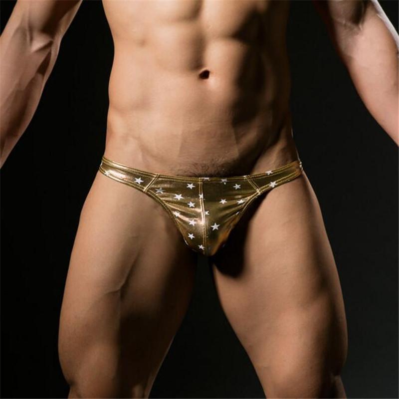 Topdudes.com - Men's Faux Leather Low-Rise Thong Underwear