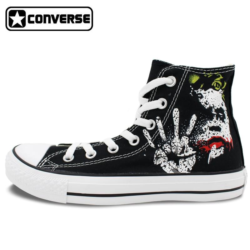 Prix pour Sneakers Hommes Femmes Converse All Star Joker Conception Personnalisée Main peint Chaussures Garçons Filles Noir Toile Chaussures Homme Femme Unique cadeaux
