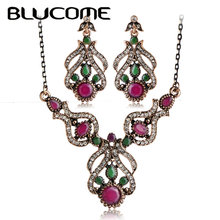 Blucome Vintage Jewelry Sets Antique Gold Color Plant Resin Crystal Pendant Necklace Earring Set Women Clothing Turkish jewelry