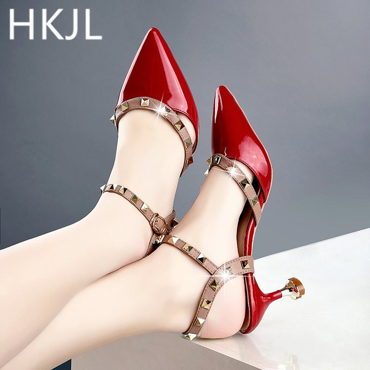 HKJL New 2019 summer rivet sandals for womens back open pointed high heels with one-button toe closure stiletto A133