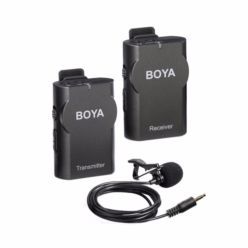 BOYA BY-WM4 Professional Wireless Microphone System Lavalier Lapel DSLR Camera Camcorder Mic For iPhone Android Cell Phone boya by wm4 wireless lavalier microphone system smartphone lapel mic for iphone 8 7 android canon nikon tablet pc audio recorder