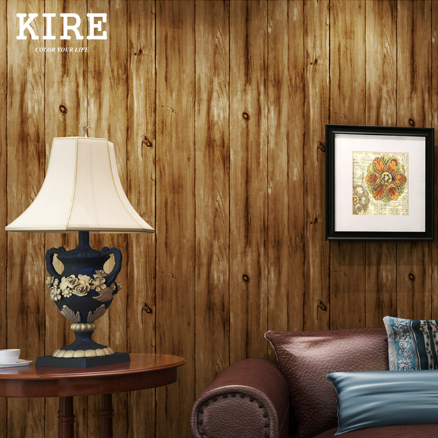 Retro Vintage 3D Holz Muster Tapete Wohnzimmer Holz Wand Papier In