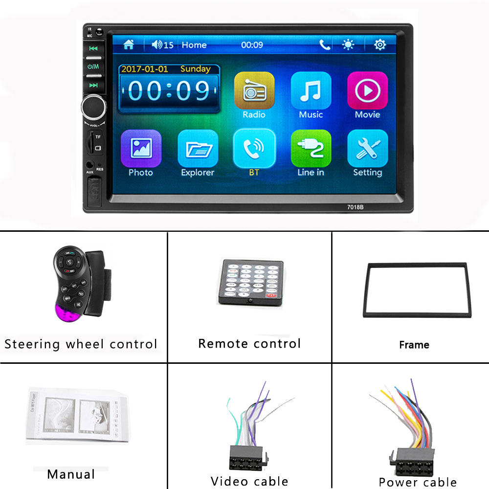 US $63 36 |AMPrime 7018B Autoradio Mirror Link 2Din Car Radio Touch Screen  Audio Radio Bluetooth Video MP5 Multimedia Player Support Camera-in Car