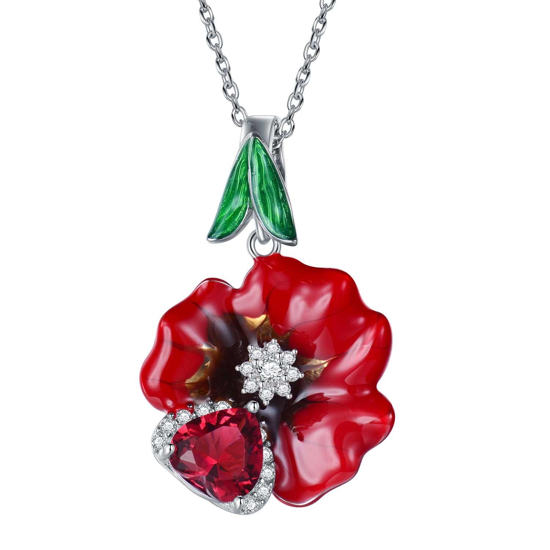 Mode Rose Fleur Vert Feuille Cz 925 Argent Collier Parti Cadeau D