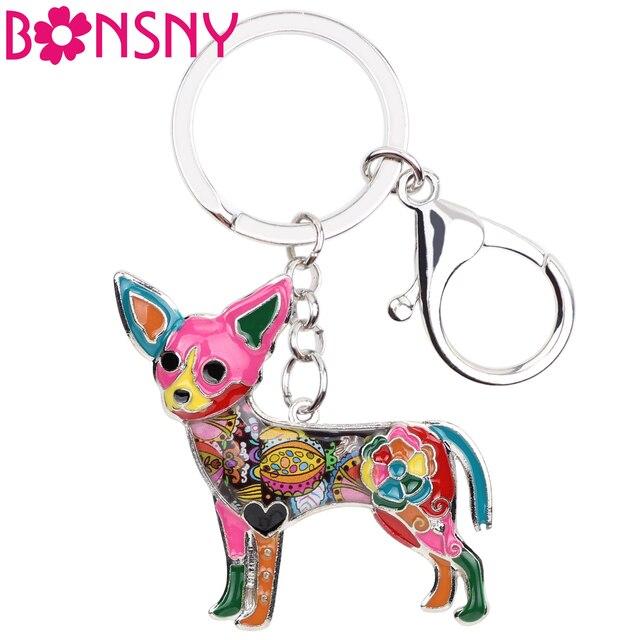 Bonsny Enamel Chihuahua Dog Key Chain Key Ring Souvenir Gift For