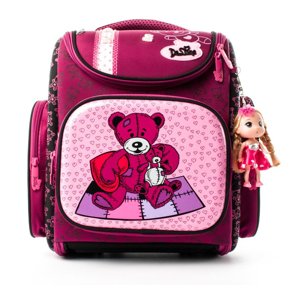 Delune Новый Европейский детей школьные сумки для подарок для девочек Медведь Рюкзак Мультфильм Mochila Escolar большой ортопедические школьный мод...