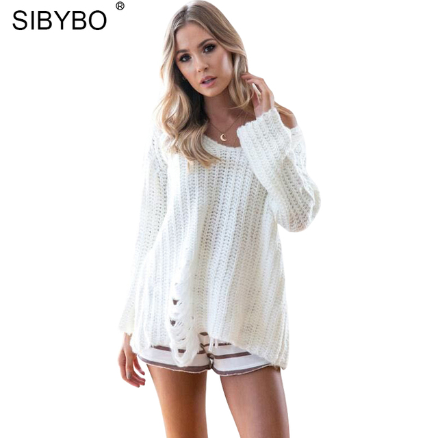 Sibybo Herbst Aushöhlen Häkeln Strick Frauen Pullover Pullover
