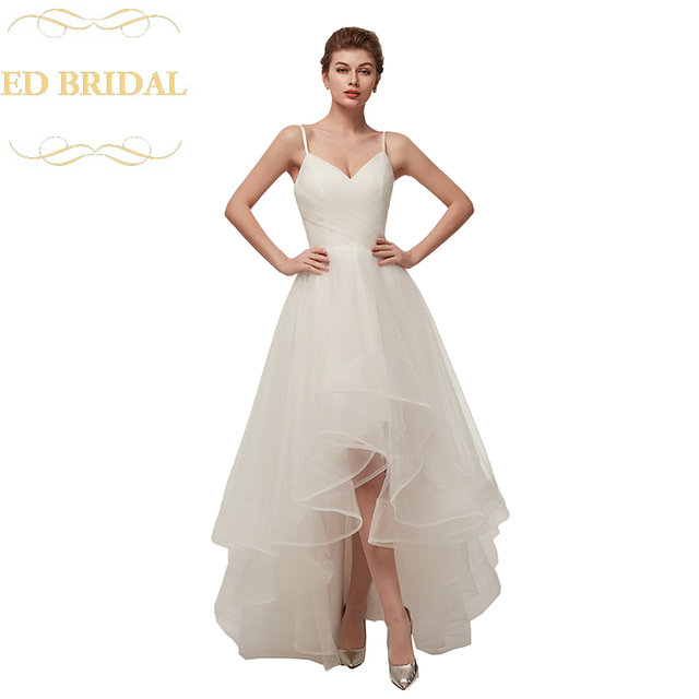 Spaghetti Straps Tulle Beach Style Hi Low Wedding Dress Western Country Bridal Gown Plus Size Includedus 99 00