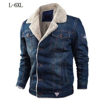 Drop Shipping Winter Warm Denim Jacket 6XL Men Thick Military Coat cotton Fur Collar Bomber Jeans Jacket cowboy 2019 clothing