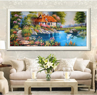 2017 Latest 5D DIY Diamond Paintings Swan Lake Diamond Embroidered Cross Stitch Suite Home Decor