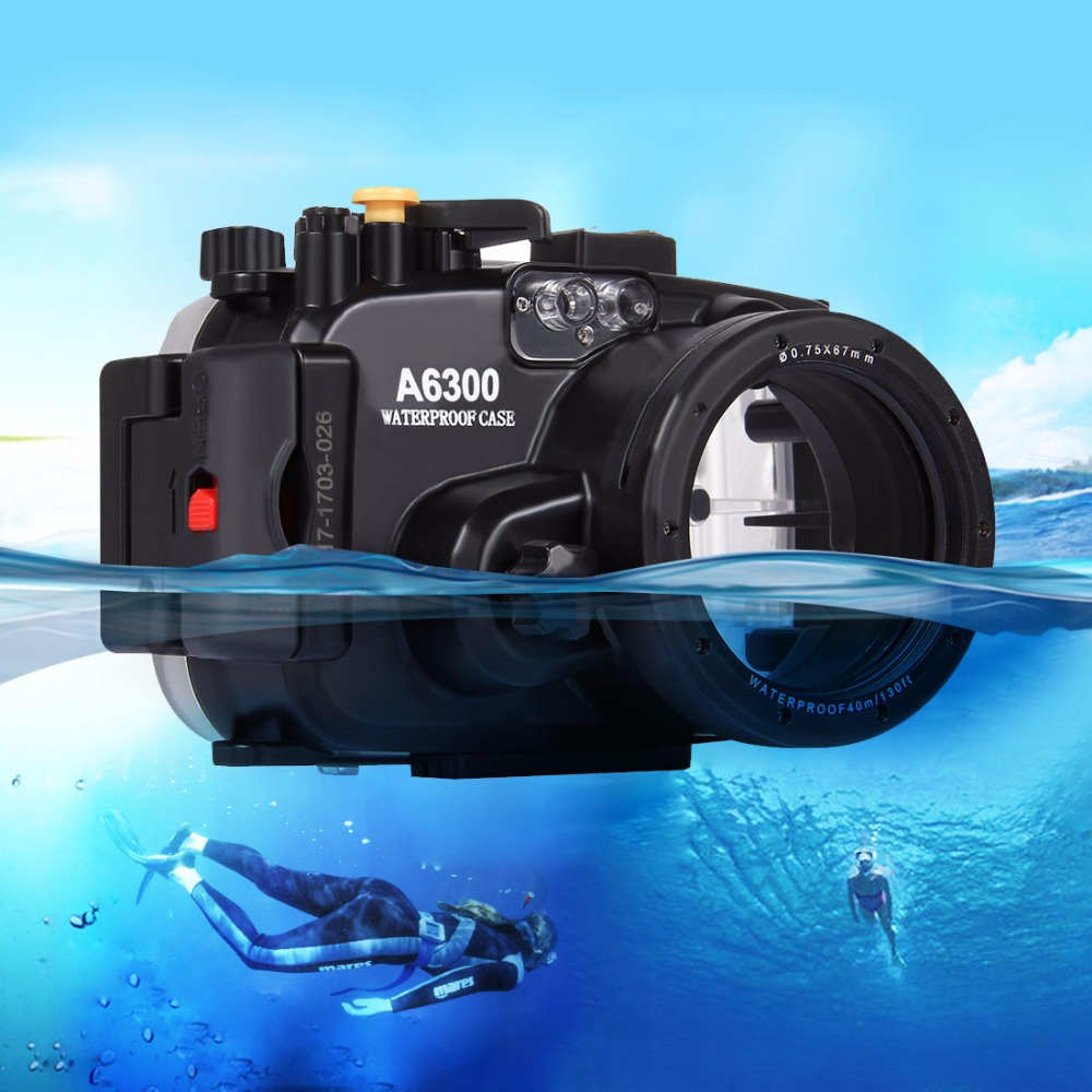 PULUZ 40m Underwater Depth Diving Case Waterproof Camera Housing for Sony A6300 40m 130ft waterproof underwater camera diving housing case aluminum handle for sony a7 a7r a7s 28 70mm lens camera