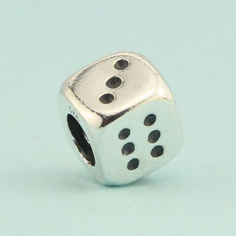 Genuine Sterling Silver Lucky Dice Charm Pendant Z37NQaAr6v