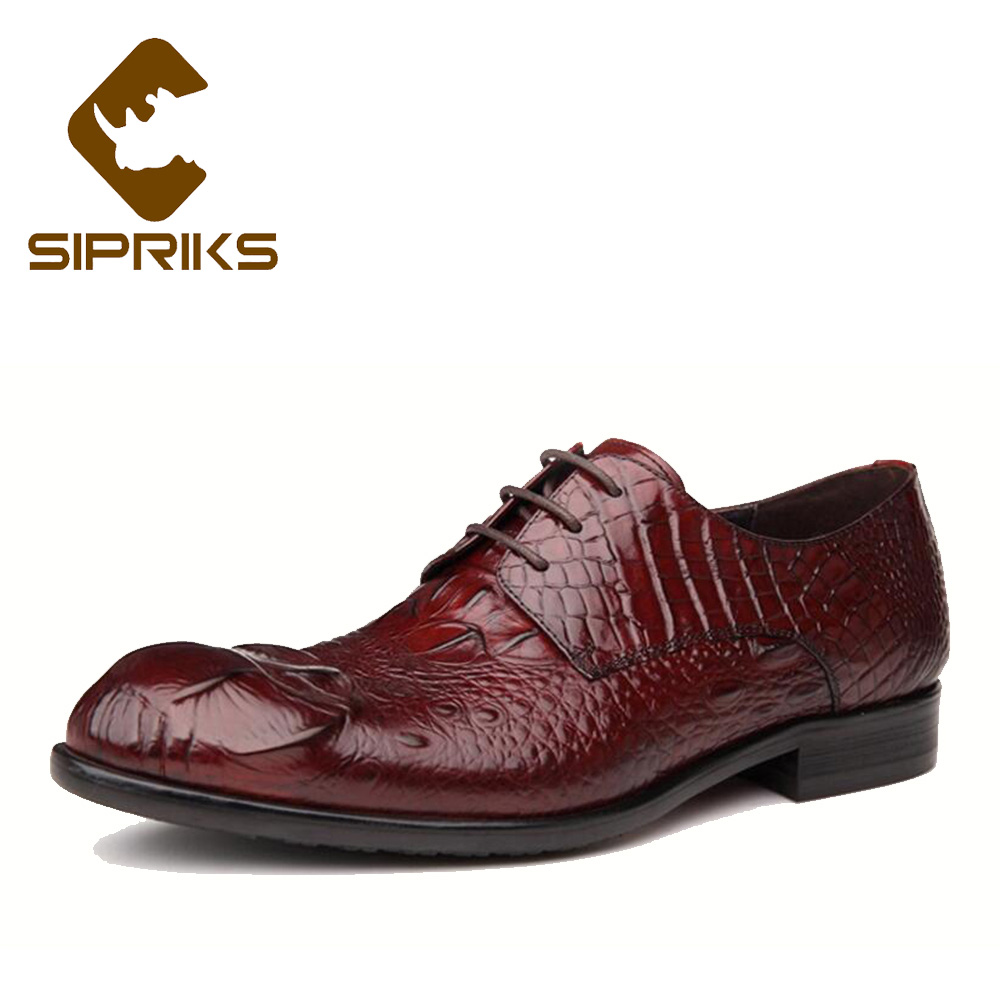 Formal Shoes Sipriks Big Size 37 45 Burgundy Dress Leather Shoes Mens Printed Crocodile Skin Oxfords Grooms Wedding Shoes Gents Suit Shoes Buy One Give One