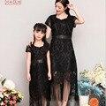 2016 primavera y el verano de la borla de la falda Trajes A Juego paternidad Familia Madre E Hija vestido de negro con flecos salvaje Envío Libre