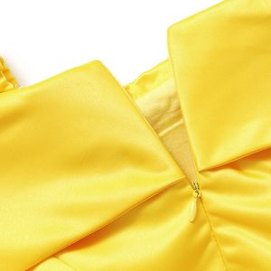 Image 4 - MUABABY Girls Belle Dress up Princess Costume Children Off Shoulder Layered Yellow Party Ball Gown Carnival Kids Dress