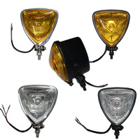 Motorcycle Bike Retro Styled Headlight Head light Lamp Chrome Amber Triangle H /Low Beam for Harley Honda Customs