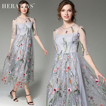 Casual Summer Floral Embroidered Mesh Splicing Dress See Through Sexy Women Slim A-line Beach Floral Embroidery Midi Dresses
