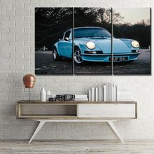 Modern Artwork One Set 3 Piece Blue Vintage Mini Car Painting On Canvas Printing Type And On The Wall Decorative Modular Picture(China)